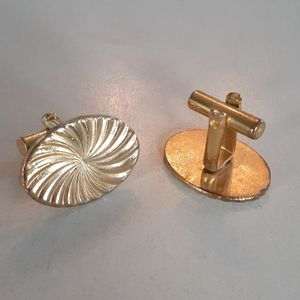 Antique gold plated oval Cuff Links Cufflinks